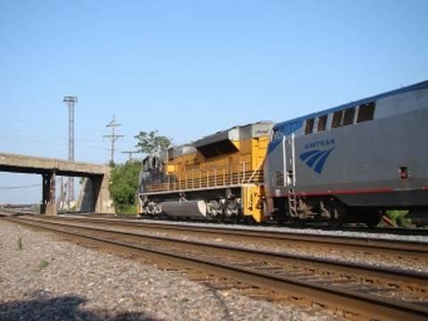 Freight Locomotive Assisting Amtrak